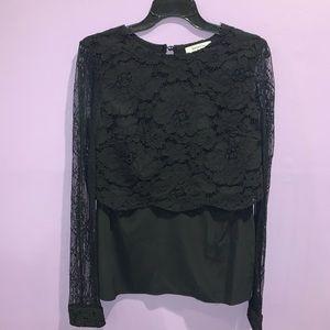 Bailey 44 lace long sleeve black blouse